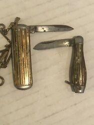 Vintage Pair Set Hammer Brand Pocket Knives Knife Bowling Pin Candy With Chain