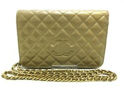 Auth CHANEL Matelasse Gold Lambskin Other Style Wallet