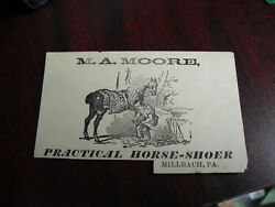 Late 1800s Vtc Victorian Advertising M.a. Moore Horse Shoer Millbach Pa