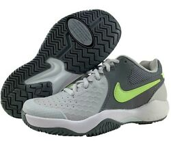 Nike Tennis Shoes Womens 5.5 Air Zoom Resistance Grey Green Non Marking Outsole