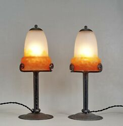 Muller Freres Pair Of French 1930 Art Deco Lamps In Wrought Iron . Lamp France