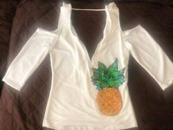 Pineapple White Cold Shoulder Women Top $5.99