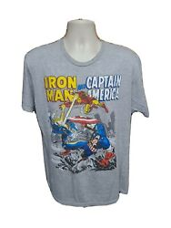 Iron Man And Captain America Adult Large Gray Tshirt
