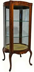 Antique Early 20th C. Free Standing Rounded Display Cabinet W/ Serpentine Panels