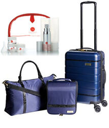 Samantha Brown 3-pc Hardside Spinner, Satchel, Cosmetic Case And Toiletry Kit Navy