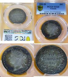 Toned ,1881h Canada Silver Fifty Cents ,victoria Coin Certified Pcgs Vf 35