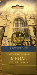 Uk Gb Canterbury Cathedral Medal 22ct Gold Plated 0