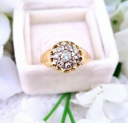 Antique Victorian 18ct Yellow Gold Chunky Old Cut Diamond Cluster Ring / Size L
