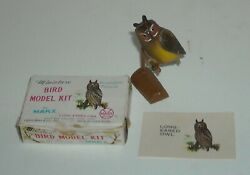 1960's Marx Toys Miniature Bird Model Long Eared Owl With Card And Display Stand