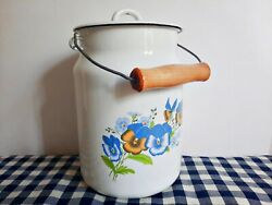 Vintage Ussr Enamel White Floral Milk Can With Blue Flowers,milk Container,dairy