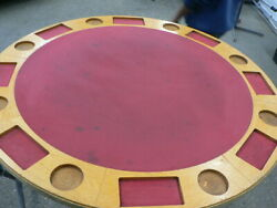 Vintage Felt Card Table Casino Texas Holdem Poker 8 Player Top Only No Legs