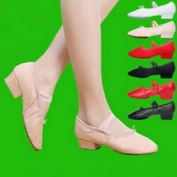 Shoes For Women Middle Heel Leather Girls Ballet Dance Shoes Belly Dance Shoes