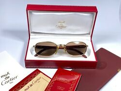 NEW VINTAGE CARTIER BRETEUIL 18K GOLD & WOOD 5222  BROWN LENS FRANCE SUNGLASSES