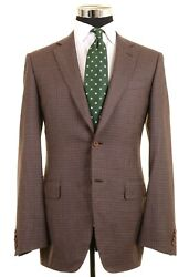 Recent Canali 1934 Brown Blue Houndstooth Check Wool Sport Coat Jacket 40 L