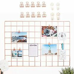 Allthecutethings Rose Gold Wire Wall Grid With 10 Metal Clips And 4 Hooks, Size