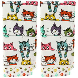 Peeping Cats Kittens Set Of 2 Kitchen Towels New Only One Set Left