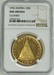 1936 Gold Austria 100 Shilling Coin Ngc Uncirculated Details