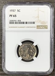 1937 Buffalo Nickel Proof Ngc Pf65 Even Color And Luster With Strike Thru Error