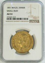 1851 Gold Brazil 20000 Reis Pedro Ii Small Bust Coinage Ngc About Unc 53