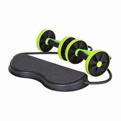 Double Wheel Coaster Ab Roller Carver Core Muscle Exercise Trainer w Comfot Mat