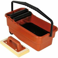 Portable Plastic Basing Smart Grout Cleaning System And Sponge W/ Grate And Handle