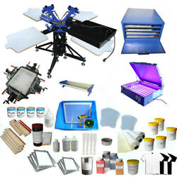 Heavy Duty 3 Color 4 Station Screen Printing Kit For Commercial T-shirt Printer