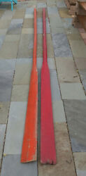 Antique Red And Orange Large Wooden Life Boat Oars 12+ Ft Long Pick Up Only