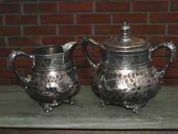Antique Hammered Silverplate Creamer And Covered Sugar Bowl-eg Webster-1870s-1880s