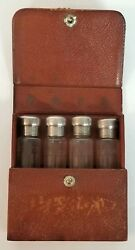 Antique And Co. Etched Sterling Silver Crystal Glass Perfume Bottlesand Case