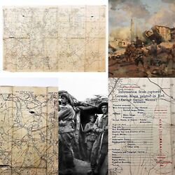 Wwi Montbrehain And0399/19/1918and039 German Emplacement And Trench Positions Linen Map