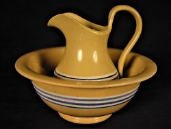 Very Rare 1800s Blue And White Band Miniature Pitcher And Bowl Set Yellow Ware Mint