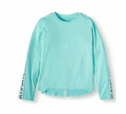 Athletic Works Girls Performance T-Shirt Taped Long Sleeve Rear Vent BLUE M- 78