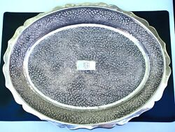 Hand Engraved 925 St. Silver Intricate Floral Designed Plate 376 Gr.