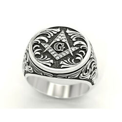 14 Kt Solid White Gold Fine Jewelry Vintage G Antique Men's Ring Size 8,9,10,11