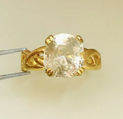 22 Kt Solid Yellow Gold Natural Clear Yellow Sapphire Gemstone Ring Size 8 910