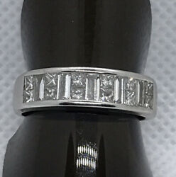 18ct White Gold Princess Cut And Baguette Cut Diamond Band Approx 1.25 Carat