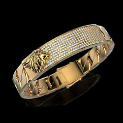 18Kt Solid Yellow Gold Lion Cubic Zirconia CZ Men's Bracelet Bangle Fine Jewelry