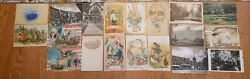 Antique Postcard Lot Of 19 With Stamps/ Political / Places/ Easter Postage