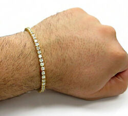 18Kt Solid Fine Yellow Gold Cubic Zirconia CZ Tennis Men's Bracelet 42.090 Grams