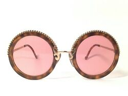 Vintage Christian Lacroix Round Tortoise And Gold 1980and039s Germany Sunglasses