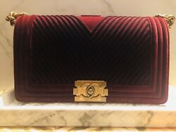 NEW! CHANEL HANDBAG ~ 2017 BOY OLD MEDIUM ~ BURGUNDY VELVET  CC BAG ~ AGED GOLD