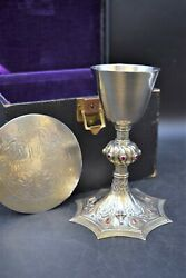 + Nice Antique Sterling Silver Celtic Chalice And Paten Made In England Cu594