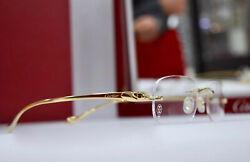 CARTIER Panthere Rimless Sunglasses Gold Occhiali Frame Brille Lunettes New