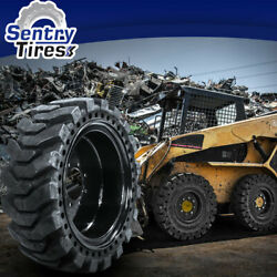 10x16.5 Sentry Tire Skid Steer Solid Tires 2 W/ Wheels For Cat 10-16.5