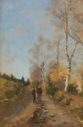 French Belgian Oil Painting Landscape Path Countryside Forest Belgium France Art