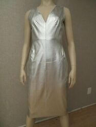 Chanel Sz 40 US 8 Dress CC Logo Silver Lambskin Leather Fall 99 New NWT Vintage