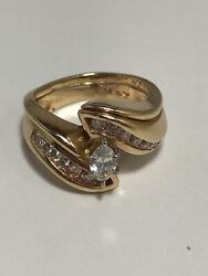 Vintage 14k Yellow Gold Marquise Diamond Engagement Ring Signed