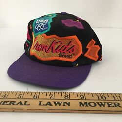 Vintage 1990s Iron Kids Bread Hat Color Block USA Olympics 1996 Olympic NEON