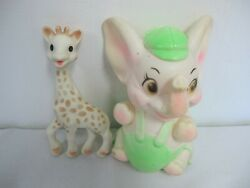 Vintage Rubber Squeak Toy Sanitoy Elephant 8 Works + Sophie The Giraffe