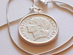 1946 French 5 Franc Coin Pendant On A 16 Italian 925 Sterling Silver Chain 31mm